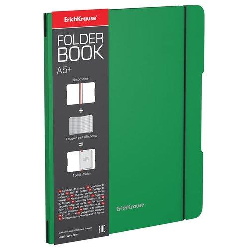 ErichKrause Упаковка тетрадей FolderBook Classic 48018 в съемной пластиковой обложке, 4 шт., клетка, 48 л., зеленый тетрадь общая ученическая в съемной пластиковой обложке erichkrause folderbook accent красный а5 48 листов клетка