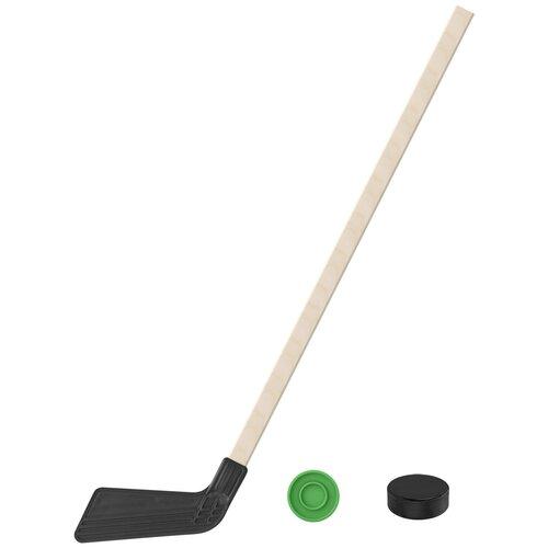 Набор зимний: Клюшка хоккейная чёрная 80 см.+шайба + Шайба хоккейная детская 60 мм., Задира-плюс