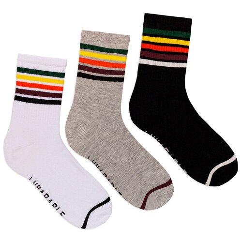 Комплект женских носков с принтом lunarable Полоски, белые, серые, черные