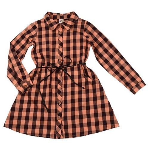 Платье Mini Maxi размер 110, оранжевая клетка