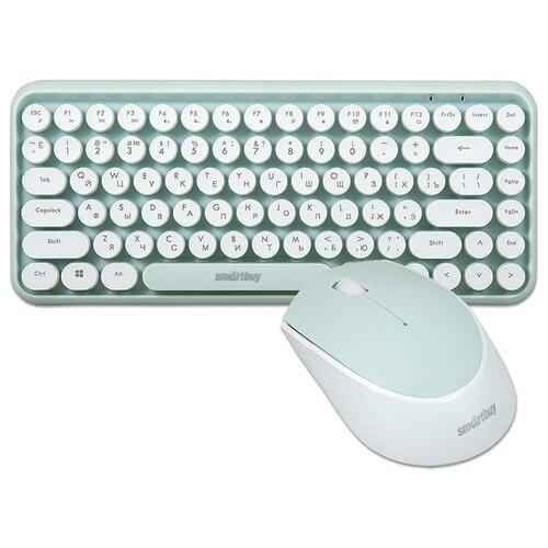 Комплект беспроводной 2в1 клавиатура + мышь SmartBuy 626376AG белый/салатовый