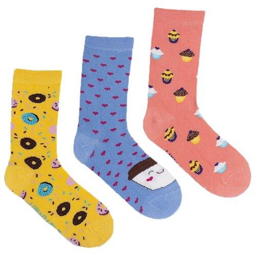 Носки Lunarable Пончики, 3 пары, размер 35-39, желтый/синий/розовый