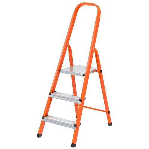 СИБРТЕХ Стремянка, 3 ступени, стальной профиль, ступени сталь, оранжевая, Сибртех