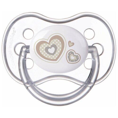 Купить Пустышка силиконовая классическая Canpol Babies Newborn Baby 6-18 м, белый, Пустышки и аксессуары
