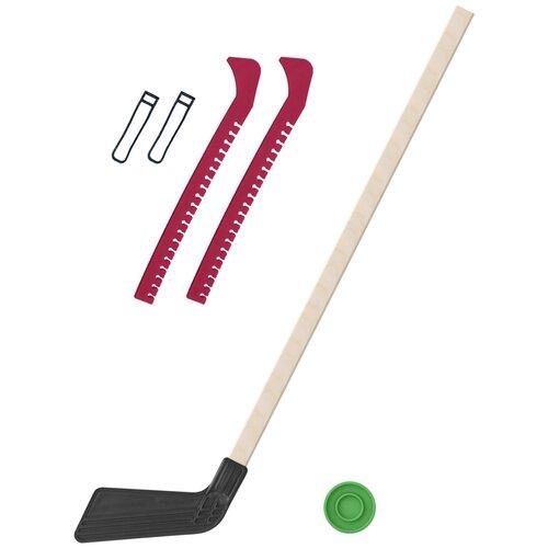 Набор зимний: Клюшка хоккейная чёрная 80 см.+шайба + Чехлы для коньков красные, Задира-плюс