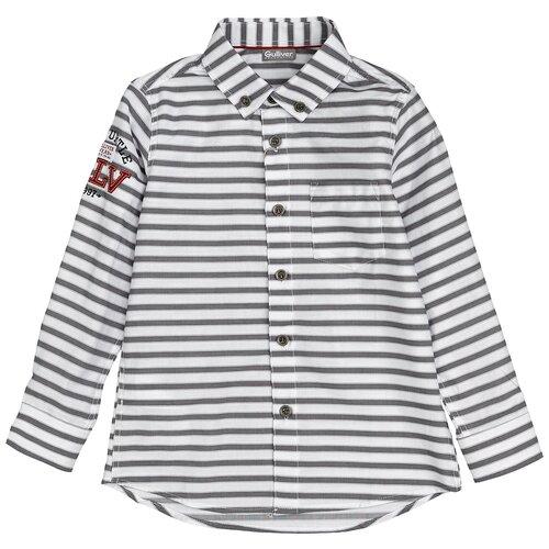 Рубашка Gulliver размер 128, белый/серый