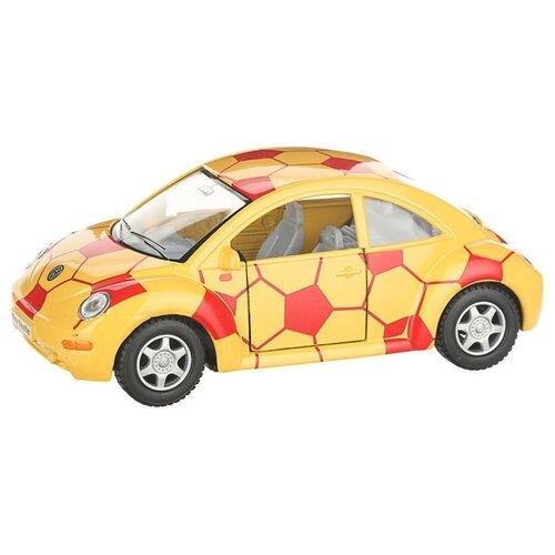 Купить Легковой автомобиль Serinity Toys Volkswagen Beetle New футбольный (5028DRKT) 1:32, 12.5 см, желтый/красный, Машинки и техника