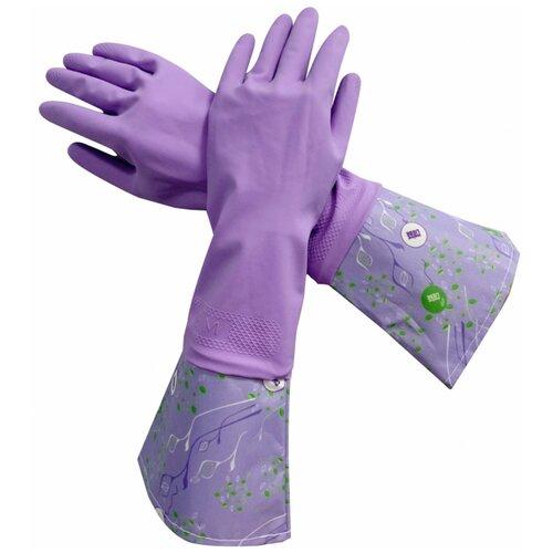 Фото - Перчатки Meine Liebe латексные Чистенот с манжетой, 1 пара, размер M, цвет сиреневый перчатки elfe хозяйственные с манжетой 1 пара размер m цвет розовый