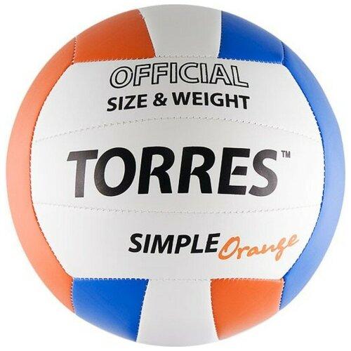 Волейбольный мяч TORRES Simple Orange V30125 оранжевый/белый/синий