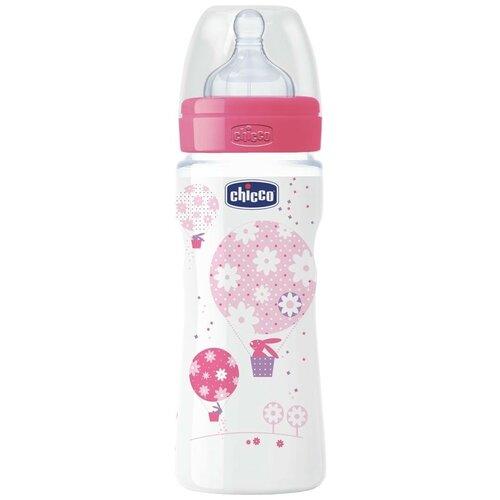Купить Chicco Бутылочка с соской из силикона Well-Being, 330 мл boy/girl, с 4 месяцев, розовый, Бутылочки и ниблеры
