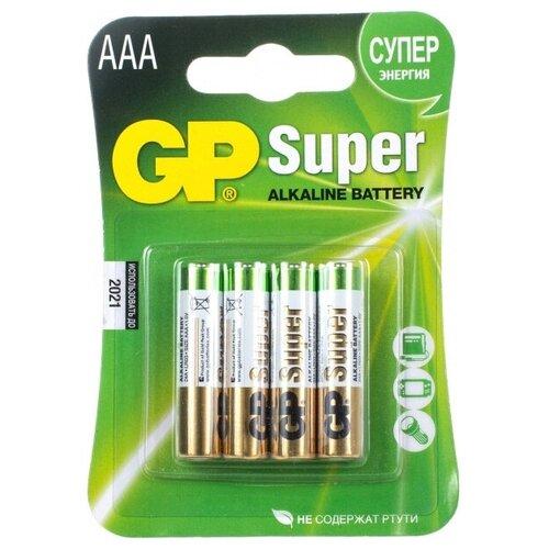 Фото - Батарейка GP 24A(LR03) 4 штуки Super Alkaline AAA батарейка aaa ergolux lr03 alkaline bl 4 lr03 bl 4