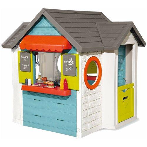 Домик Smoby 3 в 1: садовый домик, ресторан и магазин 810403, белый/голубой/серый