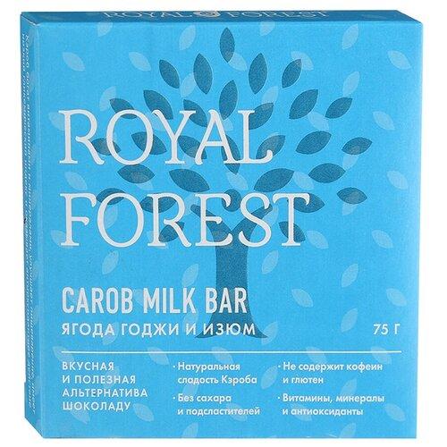 Фото - Шоколад ROYAL FOREST Carob Milk Bar молочный из кэроба с ягодой годжи и изюмом, 75 г royal forest carob drops дропсы из порошка плодов рожкового дерева 50 г