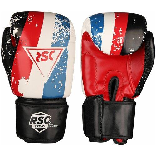 Боксерские перчатки RSC sport HIT PU, SB-01-146 белый/красный/синий 8 oz