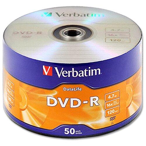 Диск Verbatim DVD-R 4,7Gb 16x DataLife shrink, упаковка 50 штук