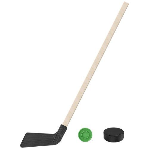 Набор зимний: Клюшка хоккейная чёрная 80 см.+шайба + Шайба хоккейная 75 мм., Задира-плюс