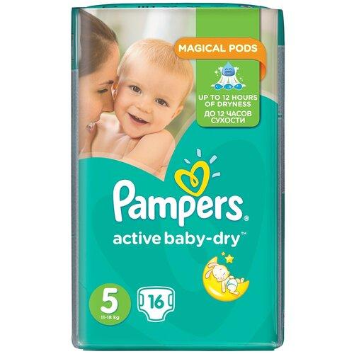 Купить Pampers подгузники Active Baby-Dry 5 (11-18 кг), 16 шт., Подгузники