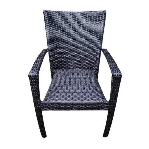Кресло Лаос, плетеное из искусственного ротанга, черный гладкий