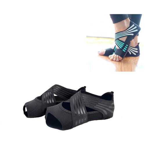 Носки для йоги противоскользящие (черные, размер 37-38)
