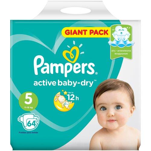 Фото - Pampers подгузники Active Baby-Dry 5 (11-16 кг), 64 шт. pampers подгузники new baby dry 1 2 5 кг 27 шт