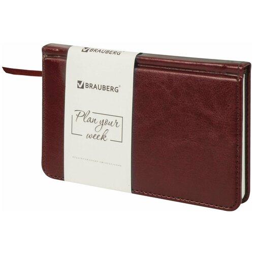 Купить Еженедельник BRAUBERG Imperial недатированный, искусственная кожа, А6, 64 листов, коричневый, цвет бумаги тонированный, Ежедневники