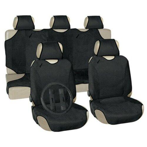 Чехлы автомобильные универальные для легковых авто VETTLER GEPARD-1 (SITZ 010G) вельвет, серые (+ оплетка на руль)