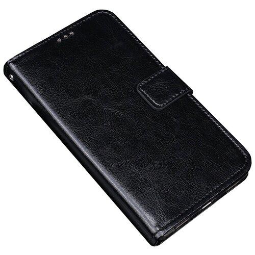 Фирменный чехол-книжка из качественной импортной кожи с мульти-подставкой застёжкой и визитницей для LG G6 mini / LG Q6 / LG Q6 Plus / LG Q6a M700 черный MyPads