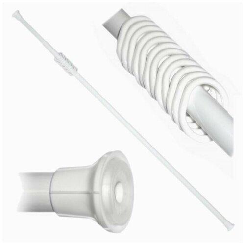 Карниз для ванной комнаты, раздвижной 150-280см, с кольцами, цвет белый карниз для ванной комнаты раздвижной 70 120 см 22 мм цвет хром