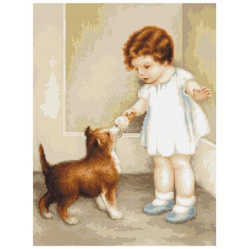 Купить Набор для вышивания, Девочка с собакой, Luca-S 21 x 28, 5 см B372, Наборы для вышивания