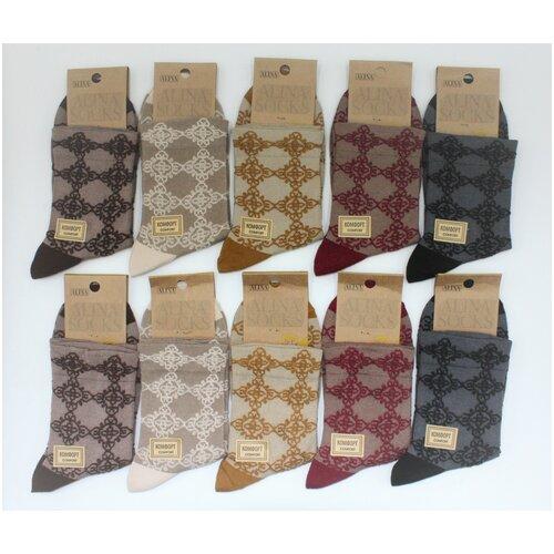 Носки женские Alina CC2082 / 10пар, черные, бордовые, горчичные, коричневые, бежевые, размер 36-41