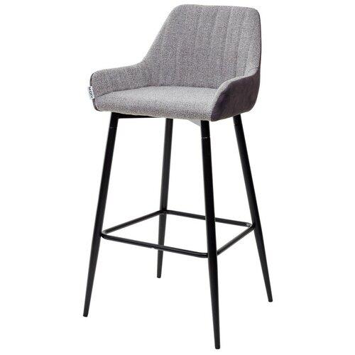 Барный стул PUNCH ( 2 штуки) / антрацитовый меланж, ткань, черный металлический каркас / стул М-Сити для кухни, для гостиной, для бара / FC-09/ MF-03 / М-City