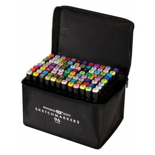 Купить Маркеры для скетчинга двусторонние BRAUBERG ART DEBUT BLACK , набор 96 шт., текстильный чехол, арт. 152133, Фломастеры и маркеры