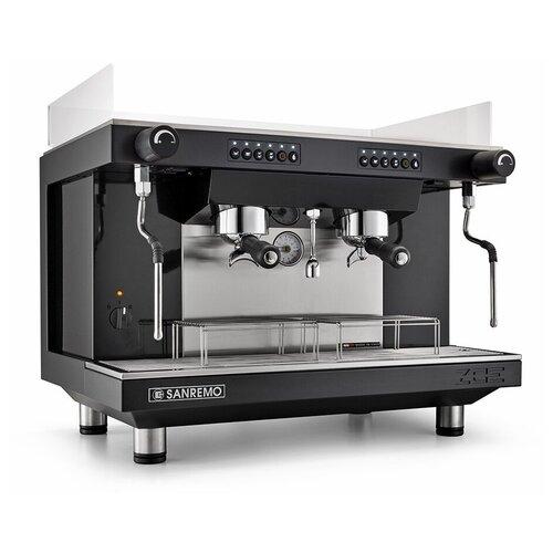 Кофемашина-автомат рожковая профессиональная для дома и кофейни Sanremo ZOE 2G SED TA, 2 высокие группы, черная