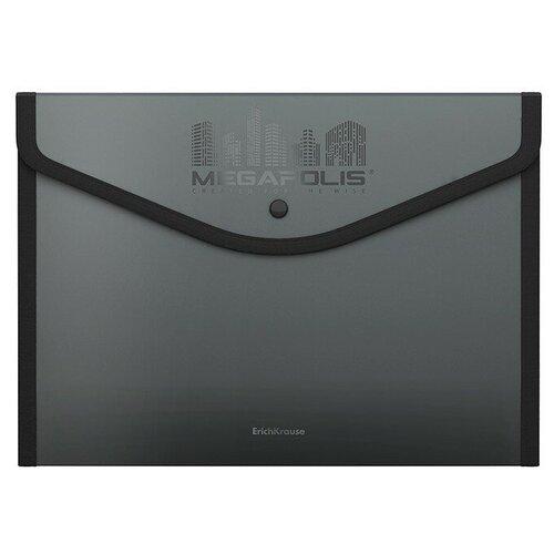 Папка-конверт на кнопке пластиковая MEGAPOLIS, обшитая, непрозрачная, A4+, ассорти недорого