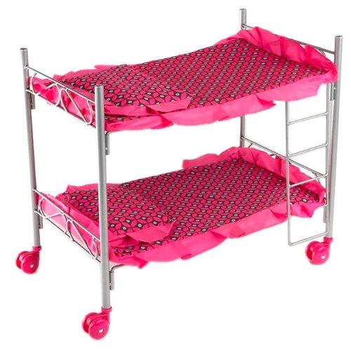 Buggy Boom Кроватка Loona двухъярусная (8887B) темно-розовый с узором
