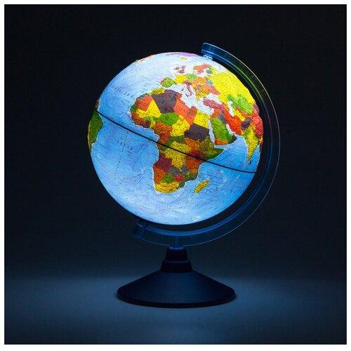 Глобус GLOBEN физико-политический рельефный, 32 см, интерактивный, с подсветкой от батареек на круглой подставке