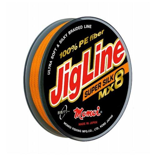 Плетеный шнур Jigline MX8 Super Silk 150 м, 0,16 мм оранжевый