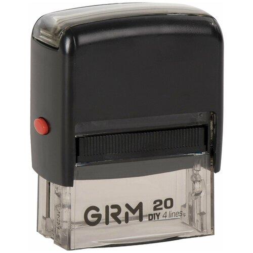 Фото - Штамп самонаборный 4-строчный, оттиск 38х14 мм, синий, без рамки, GRM 20, касса В комплекте, 116000010 штамп самонаборный 4 строчный оттиск 47х18 мм без рамки trodat ideal 4912 p2 касса в комплекте 125427