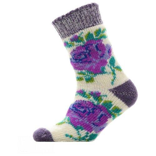 Носки шерстяные Бабушкины носки N6R54-2фиолетовый,зеленый_35-37