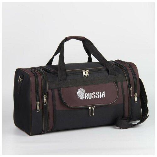 Зфтс Сумка дорожная, отдел на молнии, с увеличением, 3 наружных кармана, цвет чёрный/коричневый
