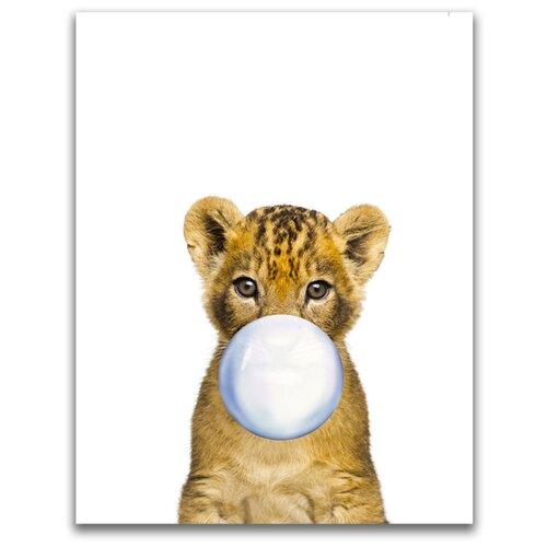 Картина на холсте LOFTime 30х40 львенок С пузырем из жевачки К-019-3040