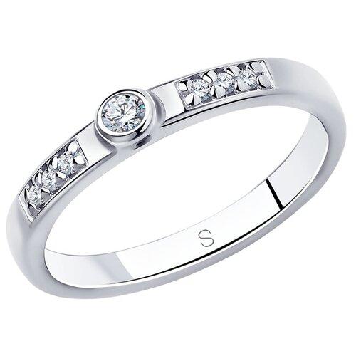 SOKOLOV Кольцо помолвочное из серебра с фианитами 94010698, размер 18