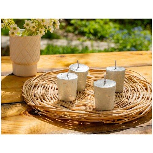 Набор свечей-столбиков металлик мрамор мини, серебряные, 4.3x4.7 см, (упаковка 4 шт.), Kaemingk 205561
