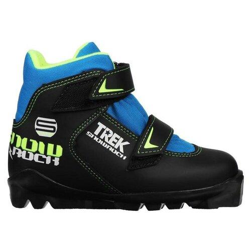 Trek Ботинки лыжные TREK Snowrock SNS ИК, цвет чёрный, лого лайм неон, размер 38