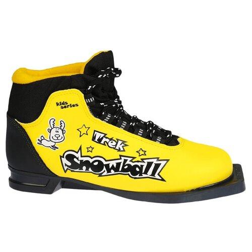 Trek Ботинки лыжные TREK Snowball NN75 ИК, цвет жёлтый, лого чёрный, размер 33