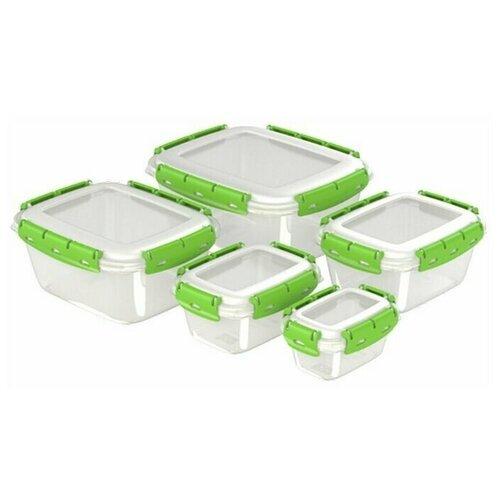 Набор контейнеров герметичных №1 (ланч-боксы, 5 шт) 0,38л; 0,8л; 1,5л, 2,5л, 3,9л