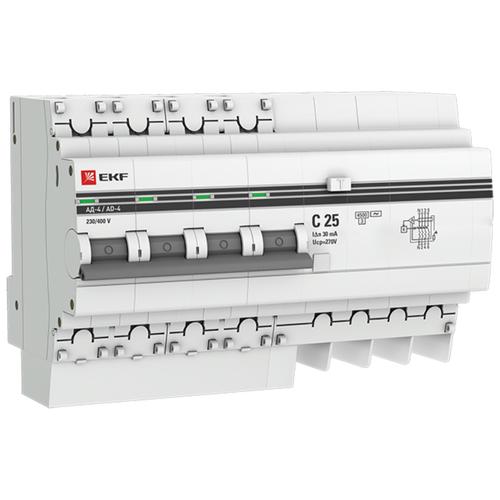 Фото - Дифференциальный автомат EKF АД-4 4П 30 мА C 4.5 кА AC электронный 25 А дифференциальный автомат ekf ад 4 4п 30 ма c 4 5 ка ac электронный 40 а