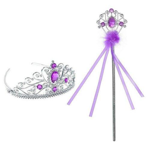 Купить Карнавальный набор Принцесса 2 предмета: корона, жезл с камнями, цвет фиолетовый, Сима-ленд, Карнавальные костюмы