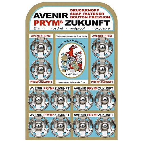 Фото - Prym Кнопки пришивные 341222, серебристый, 21 мм, 12 шт. prym кнопки пришивные квадратные 347125 белый 9 мм 15 шт