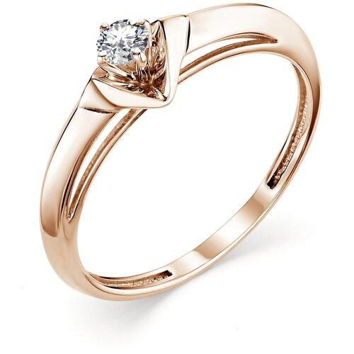 АЛЬКОР Кольцо с 1 бриллиантом из красного золота 12845-100, размер 16